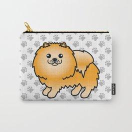 Orange Pomeranian Dog Cute Cartoon Illustration Carry-All Pouch