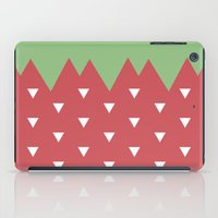 strawberry iPad Cases featuring Strawberry by According to Panda