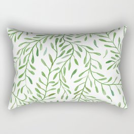 Vivid Green Tendril Botanical Watercolor Pattern Rectangular Pillow