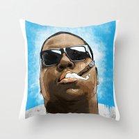 biggie Throw Pillows featuring Biggie by K▽nchʁLϟ