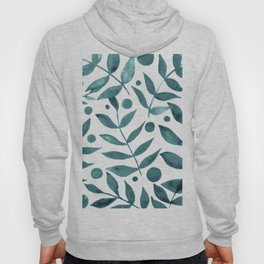 Watercolor berries and branches - teal grey Hoody