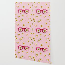 Pink sunglasses with daisies Wallpaper