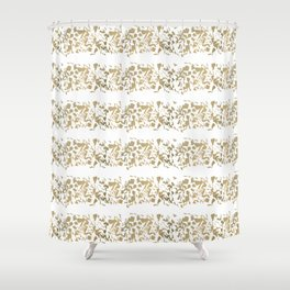 Hand painted abstract yellow gold geometrical stripes Shower Curtain
