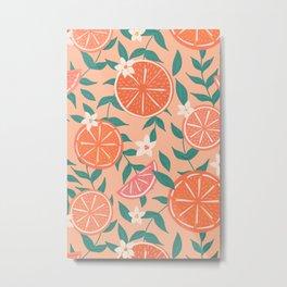 Floral Citrus in Pink Metal Print