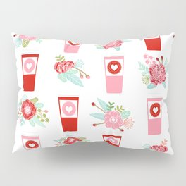 Coffee floral bouquet painted flowers for valentines day gifts coffee lovers must haves Pillow Sham
