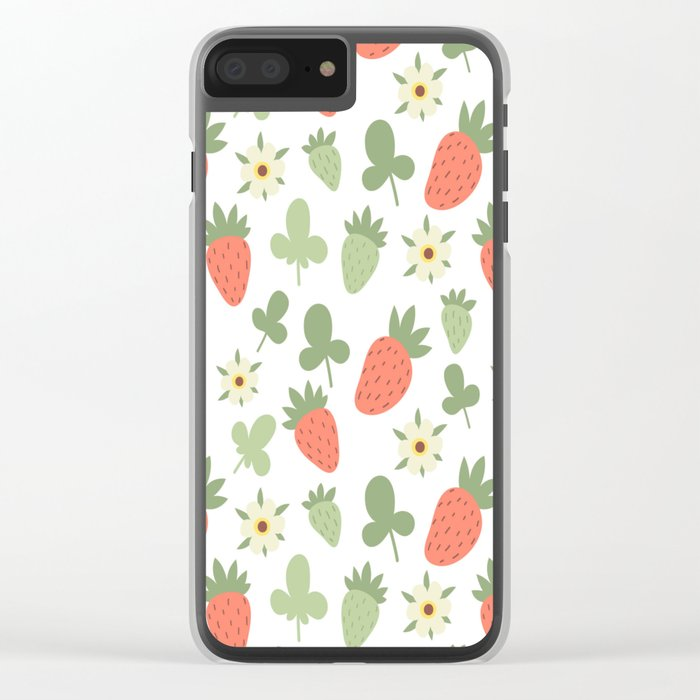 Stawberry Pattern Clear iPhone Case