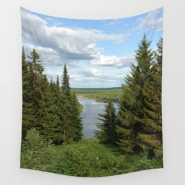 Landscape view on the taiga in Kargort village in Komi Republic of Russia. Wall Tapestry