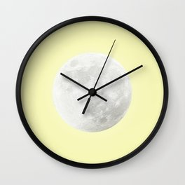 WHITE MOON + CANARY YELLOW SKY Wall Clock