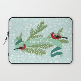 Bullfinches sitting on conifer branch Laptop Sleeve