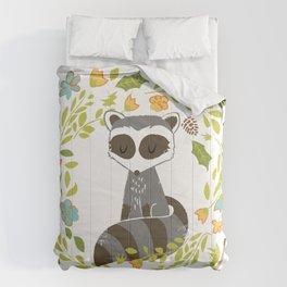 woodland raccoon folk flower wreath illustration Comforters
