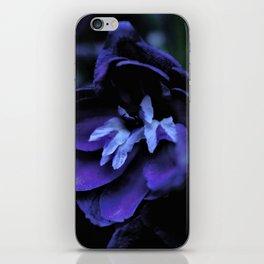 Blue flowers in the dark iPhone Skin