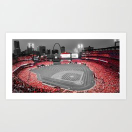 St Louis Skyline and Busch Stadium Panorama in Cardinal Red Art Print