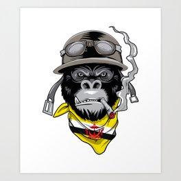 Patriotic Bruneian Motorist Biker Gorilla Flag Of Brunei Roots Heritage Nationalism Patriotism Art Print