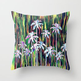 Bright Neon Multi-Colored Palm Trees and Stripes Throw Pillow