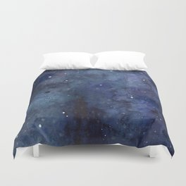 Galaxy Nebula Watercolor Night Sky Stars Outer Space Blue Texture Duvet Cover