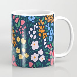 Vintage floral background. Flowers pattern with small colorful flowers on a dark blue background.  Coffee Mug