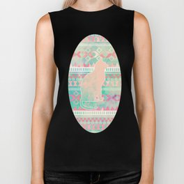 Whimsical Cat, Pink Turquoise Girly Aztec Pattern Biker Tank