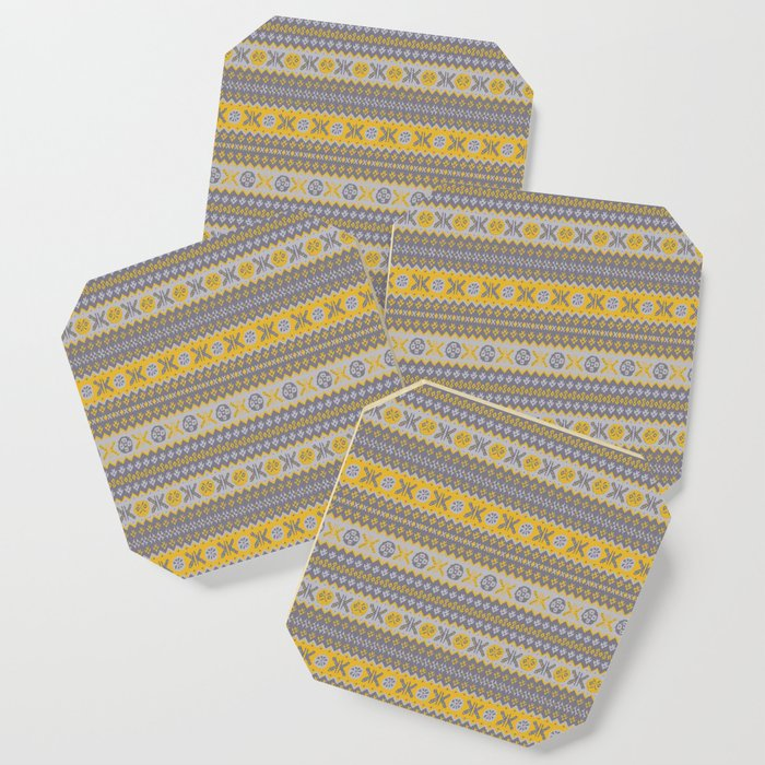 Granny's Fairisle - Honey Yellow Coaster