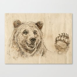 Grizzly Bear Greeting Canvas Print