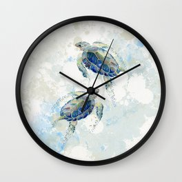 Swimming Together 2 - Sea Turtle  Wall Clock