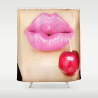 lip Shower Curtains featuring Lip Cherry  by Bougiee Inc.
