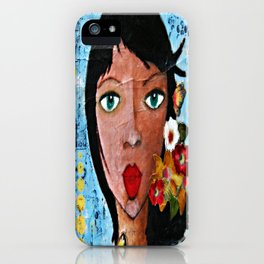 """""""Embrace Imperfection"""" Motivational Art. Beautiful girl with flowers in her hair. iPhone Case"""