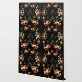 "Abraham Mignon ""Garland of Flowers"" Wallpaper"