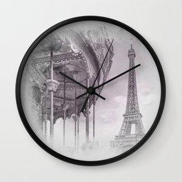Typical Paris   grey/pink watercolor Wall Clock