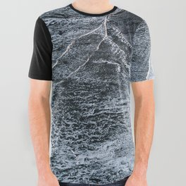Waves on a black sand beach in iceland - minimalist Landscape Photography All Over Graphic Tee