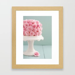 Cake with sugar roses Framed Art Print