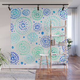 Abstract watercolor sparkles – aqua and blue Wall Mural