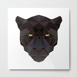 Black Jaguar Panther Wild animals Geometric Metal Print