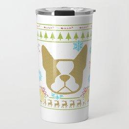 Boston Terrier Christmas Ugly Sweater Design Shirt Travel Mug