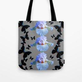 BLACK BUTTERFLIES & PASTEL IRIS MODERN ART DESIGN Tote Bag