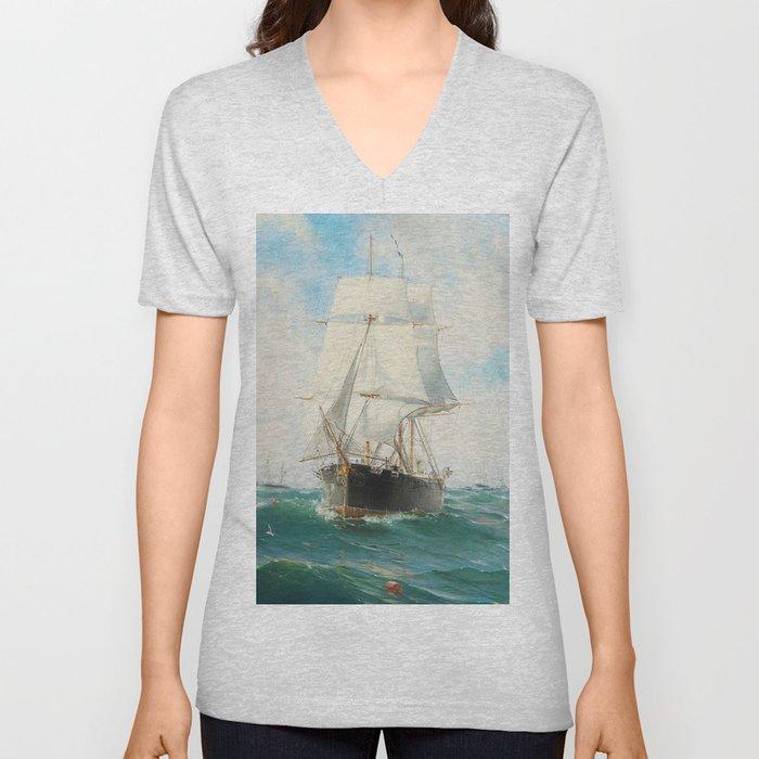Vintage Swedish Sailboat Painting (1887) Unisex V-Neck