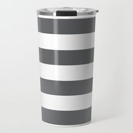 Simply Striped in Storm Gray and White Travel Mug