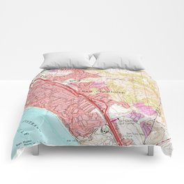 Vintage Map of San Clemente California (1968) Comforters