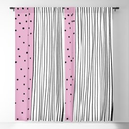 Dots & Stripes in pink Blackout Curtain