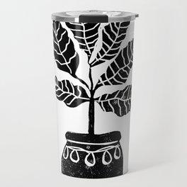 Fiddle Leaf Fig tree linocut black and white minimal modern lino carving monochromatic trendy art Travel Mug