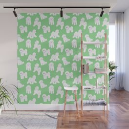 Bichon Frise Pattern (Green Background) Wall Mural