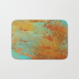 Turquoise and Copper-Red Bath Mat