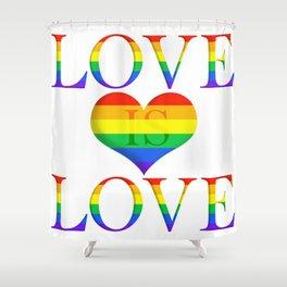 Love is Love Minimalist Pride Art With Heart Shower Curtain