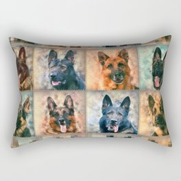 German Shepherd Dogs - GSD - Digital Art Collage Rectangular Pillow