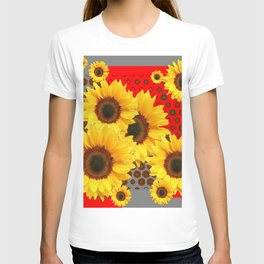 RED-YELLOW SUNFLOWERS GREY ABSTRACT T-shirt
