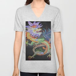 Bright and Vivid Chinese Fire Dragon Unisex V-Neck