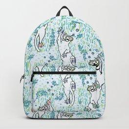 Cute Aqua Cartoon Diving Cats Vector Pattern Backpack