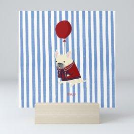 French Bulldog with Stripe Mini Art Print