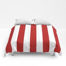 Cornell red - solid color - white vertical lines pattern Comforters