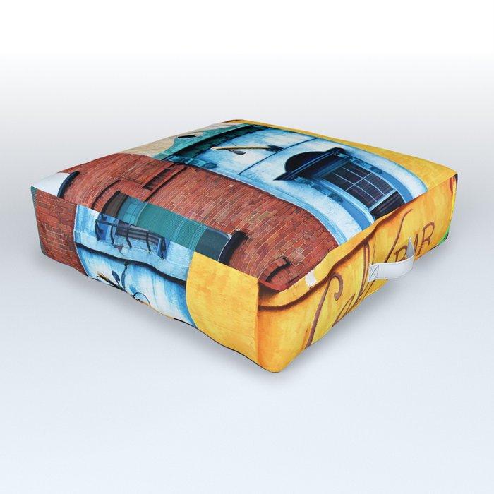 Blue Narrow House Outdoor Floor Cushion