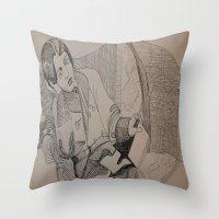 oscar wilde Throw Pillows featuring Oscar Wilde Author Portrait by Wicked Ink